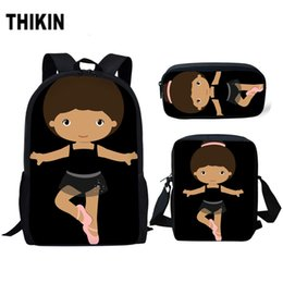 China THIKIN Black African Little Afro Girl Schoolbag Cute Ballet Dancer Printing Children School Bags for Kids 3pcs School Bag Set cheap little kids backpacks suppliers
