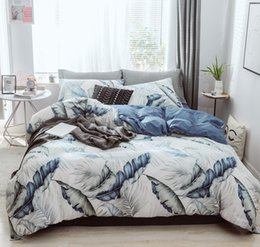 Elegant Queen Size Bedding Sets Australia - Free shipping Novelty Gift Cotton Elegant Watercolor Leaves Pattern Adult Kids Bedding Quilt Duvet Cover Set Pillowcase Twin Queen King size