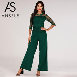 green long sleeve pants jumpsuit Australia - 2019 Autumn Sexy Lace Jumpsuit Women Dungarees Lace Splice 3 4 Long Sleeves Wide Leg Playsuit female Rompers Long Pants Overalls