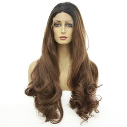 ombre loose wave synthetic wig NZ - Heat Resistant Loose Wave Lace Front Wig Ombre Black To Brown Long Wavy High Temperature Fiber Synthetic Wigs For Women