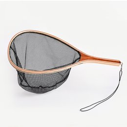 Landing Net in Wood Frame Capture and Release Portable Net Lightweight Nylon on Sale
