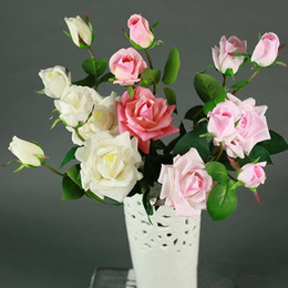 $enCountryForm.capitalKeyWord Australia - 3 Heads Artificial Real Touch Rose Flowers Branch Decoration Fresh Rose Artificial Flowers Latex Roses for Wedding Bouquet Home Decoration