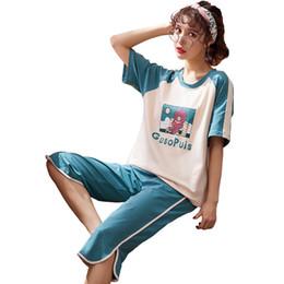 $enCountryForm.capitalKeyWord UK - Pajamas Women's Soft Cotton Short Sleeved Women's Calf-Length Pants Cartoon Home Clothes pyjama femme pizama women nightwear