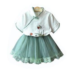 Girls Lace Summer Shorts Set UK - Kids Girls Clothing Sets Short Sleeve Chinese Style Shirts Embroidery Top TUTU Skirts Two-Piece Suit Mesh Soft Elastic TUTU Skirts B11