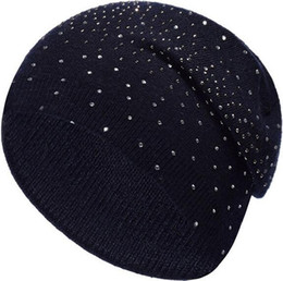 Black Diamond Caps UK - Foreign trade new autumn and winter warm wool ladies caps with diamond fashion hot knit hat