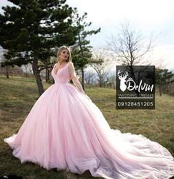 $enCountryForm.capitalKeyWord Australia - Luxury Arabic Dubai Pink Ball Gown Quinceanera Dresses Sheer Long Sleeve Beaded Sequined Long Train Sweet 16 Dress vestidos de quinceañera