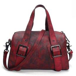 $enCountryForm.capitalKeyWord Australia - Original Design Genuine Leather Women Handbag Rivet Decoration Totes Cowhide Hand Brush Color Messenger Vintage Shoulder Bag
