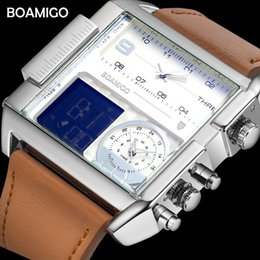 $enCountryForm.capitalKeyWord Australia - Dropshipping Boamigo Brand Men 3 Time Zone Man Sport Digital Watches Brown Leather Military Quartz Watch Relogio Masculino MX190725
