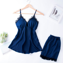 fbc9cc9e90 QWEEK Sexy Lace Lingerie Pyjamas Women Satin Sleepwear 2019 Spring Silk  Pajamas Sets with Chest Pads Elegant Two Piece Homewear