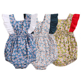 baby girls tutu princess rompers 2019 - Flower Newborn Baby Girl Rompers Summer Baby Girls Clothing Ruffles Rompers Jumpsuit infant Playsuit princess girls one-