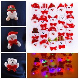 Christmas snowman brooCh online shopping - Led Christmas Brooch Badge Decorations Xmas Santa Claus Snowman Deer Bear Glow Flashing Brooch Plush Toys party Gift props FFA3231
