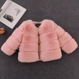 Brasão Baby Girl elegante New Meninas Inverno Fur Faux Fur jaquetas e casacos grossos Quente Parka crianças Casacos Roupa para meninas Brasão em Promoção