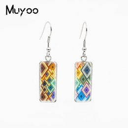 $enCountryForm.capitalKeyWord Australia - Cool Geometric Patterns Fantastic Geometry Design Glass Cabochon Fish Hook Earrings Rectangle Shaped Pendants Jewelry Earrings