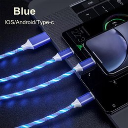 $enCountryForm.capitalKeyWord Australia - 3 in 1 LED Glow Flowing Light USB Data Cable Type C Micro USB Glowing Charger Wire Mobile Phone Bright PD Charging Cord For Samsung S10e
