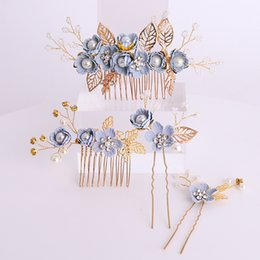 Cheap Red Jewelry Sets NZ - Cheap Jewelry 4 Pcs set Blue Flower Tiara Pins Combs Pearls Rhinestone Leaves Wedding Women Hair Jewelry For Bride Gold Hair Accessories