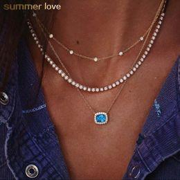 $enCountryForm.capitalKeyWord Australia - Elegant Multilayer Geometric Blue Clear Crystal Pendant Choker Necklace for Women Trendy Jewelry Gift 2019