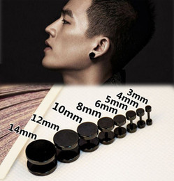 Barbell Black Australia - 1piece New Black Gothic Barbell Earring Fashion Stainless Steel Round Plain Men Stud Earring Jewelry 8 Styles Drop Shipping