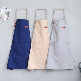 shop aprons Canada - Solid Cotton Apron Kitchen Aprons For Woman Men Chef Waiter Cafe Shop Overalls With Pocket BBQ Cooking Bibs Baking Accessories