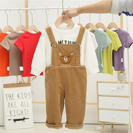 $enCountryForm.capitalKeyWord Australia - NEW INS Toddler Kids Boys Girls Jumpsuits Overalls Blet Rompers Cotton Front Pocket Cartoon Bear Spring Autumn Children Girls Suspender