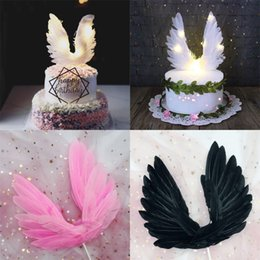 Design Cakes Cupcakes Australia - 17x17cm Creative Angel Wings Design Wedding Cupcake Cake Topper for Party Decoration Birthday Cake Flags Baking Decor Supplies