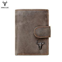 Hide Wallet Australia - Mingclan Men Wallet Crazy Horse Original Leather Male Wallets Rfid Blocking Coin Purse Flip Id Credit Card Holder Hidden Pocket Y19051702