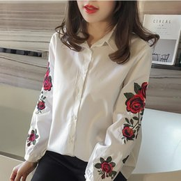 blue embroidered blouse NZ - Hot Sale Embroidered Women's Summer Long Sleeve Blouse Floral Shirt Striped Casual Shirt Tops Plus Size