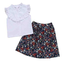 3debada2d Infant Kids Cotton white T-Shirt Baby Girls Princess Summer Tops T-Shirt  Solid White Flower Printed Dress 2PCS Set