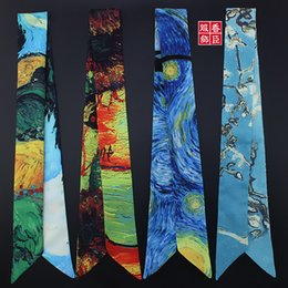 Tied Scarves NZ - New Scarf Floral Print, Starry sky, oil painting Tie Women Silk Scarf Fashion Head Scarf Handle Bag Ribbons Small Long Scarves