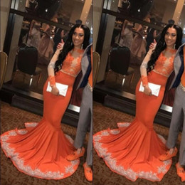 Celebrity inspired mermaid gowns online shopping - 2019 New Sexy Orange Evening Dresses Lace Appliques Long Sleeves Sweep Train Satin Mermaid Plus Size Celebrity Cocktail Party Prom Gowns