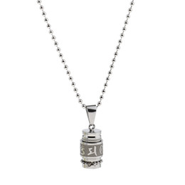 $enCountryForm.capitalKeyWord UK - Stainless Steel Buddhist Om Mani Padme Hum Prayer Bottle Urn Keepsake Locket Necklace