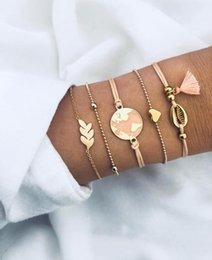 $enCountryForm.capitalKeyWord Australia - Bohemian 2019 Shell Map Heart Charm Bracelets Bangles For Women Pink Tassel Bracelets Sets Jewelry Gifts New Vintage