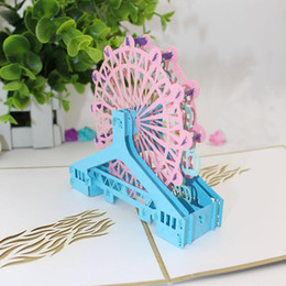 Discount box wheels New 3D UP Cards Birthday With Envelope Sticker Ferris Wheel Laser Cut Invitation Souvenirs Greeting Card Postcards Gift