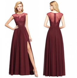 Chinese  2019 Burgundy Chiffon Long Bridesmaids Dresses Sheer Cap Sleeves Lace Applique Split Wedding Guest Maid Of Honor Dresses Real Image BM0146 manufacturers