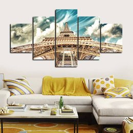 $enCountryForm.capitalKeyWord Australia - 5pcs set Unframed Eiffel Tower Cultural Building Landscape Print On Canvas Wall Art Picture For Home and Living Room Decor
