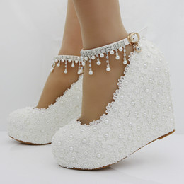 Anklet Toe Chain Australia - Downton Handmade Pearls and Lace Wedding Shoes wedge heel Bridal bridesmaid Prom Party Shoe with Crystals Anklets size 33-42