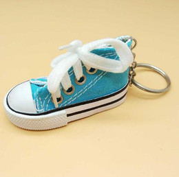 Metal Sneakers Australia - Fashion Canvas Shoes Keychain for Woman Men Kids Key Rings Creative Jewelry Sports Sneaker Key Chain Funny Gifts wholesale
