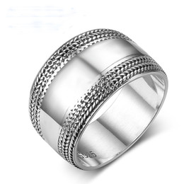 100% 925 Sterling Silver Rings for Women Vintage Silver Wide Wedding Bands Edge Wave Lace Braided Rings Size 6 7 8 on Sale