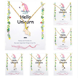 Kids jewelry rope chain online shopping - Unicorn Necklace Card Pendant Wihoo Horse Women Pendant Children Girls Cute Fashion Jewelry Gift Kids Enamel Party Gold