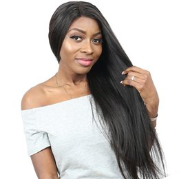 Italian Wave Hair Australia - Italian Yaki Straight Full Lace Human Hair Wigs For Women Natural Black 130% Gluless Full Lace Wigs With Baby Hair Remy