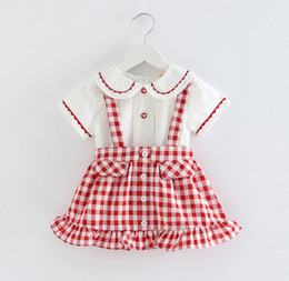 $enCountryForm.capitalKeyWord NZ - Baby girls outfits kids lace embroidery doll lapel love heart buckle short sleeve shirt+plaid falbala suspender skirt 2pcs sets F7870