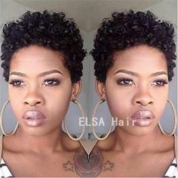 $enCountryForm.capitalKeyWord Australia - Short Human Hair Wig Brazilian virgin Afro Kinky Curly Hair Wig Full Bouncy 4# 1B# Color For Black White Women