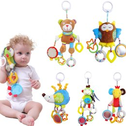 Infant Development Australia - Baby Boy Girl Cute Cotton Rattles Infant Animal owl bear monkey Hand Bell Kids Plush Toy Development Gifts Hot Selling
