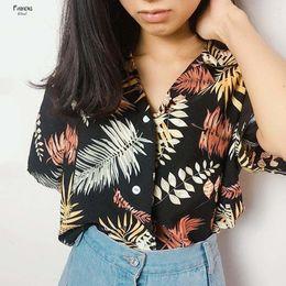 Fashion ladys tops online shopping - 2019 Blouse Hot Summer Womens Casual Shirt Leaves Blusas Chiffon Print V Neck Half Sleeve Ladys Top Fashion Loose