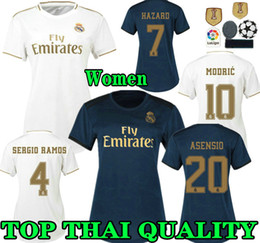 Wholesale feminine Real madrid soccer Jersey Home HAZARD lady RONALDO ASENSIO BALE RAMOS ISCO MODRIC Women Away third football shirts