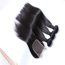 $enCountryForm.capitalKeyWord UK - Brazilian Virgin Straight Hair Bundles with Closure Unprocessed Human Hair with Lace closure Peruvian Malaysian Cambodian Raw Indian Hair