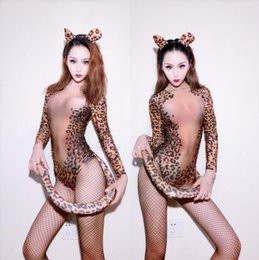 Female singers costumes online shopping - Sexy Halloween bar DJ female singer costume European and American retro Party Costume full of Leopard Print Performance stage Costume