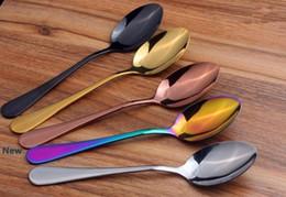 Wholesale metal steaks online – design Stainless Steel Flatware Set Colorful Titanium Plated Spoon Fork Knife Set Western Steak Cutlery Spoon Tableware Dinnerware HHA419