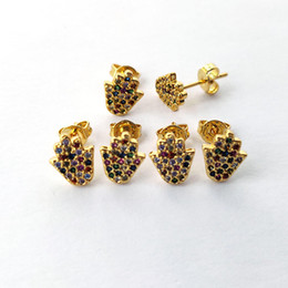 wholesale hamsa earrings Canada - Fashion Women Gold Color Colorful CZ Rainbow cubic zirconia Micro Pave Hamsa Hand Stud Earrings Jewelry Xmas Gift ER949