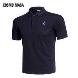Polos Blacks Australia - Kosmo Masa Cotton Black Polo Shirt Mens Short Sleeve 2018 Summer Casual Solid Male Polo Shirts Dry Slim Fit Polos For Men Mp0001 Q190428