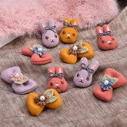 Wholesale Handmade Fabric Felt Crochet Kawaii Animal Bunny Rabbit Floral bow Patch Sticker Fit Girls Hair Jewelry
